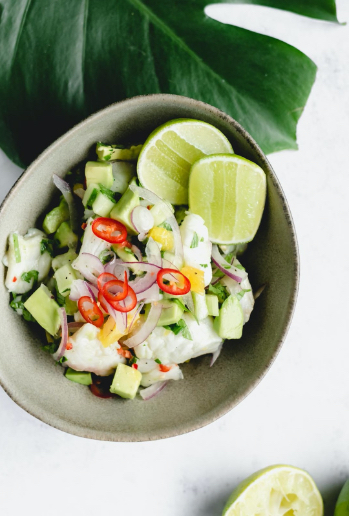 Ceviche with lemon, lime and orange