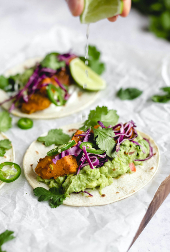 Tacos with spicy sweet potato and chunky guacemole